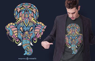 Design colorido de camisetas Ganesha