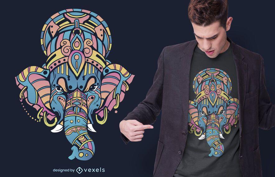 Diseño de camiseta colorida de Ganesha