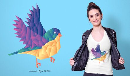 Diseño de camiseta de pájaro poligonal