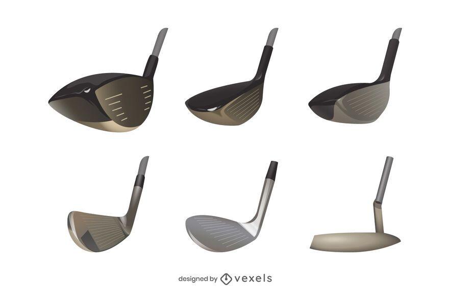 Conjunto de cabeça de taco de golfe realista