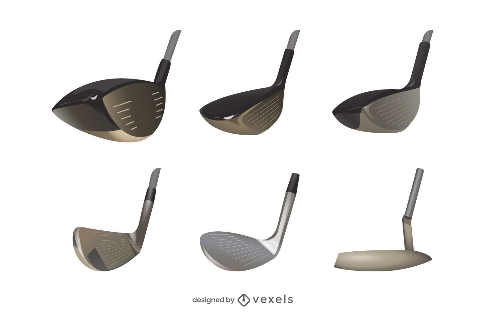 Realistic Golf Club Head Set