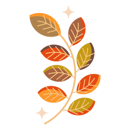 Rama de hoja de otoño plana
