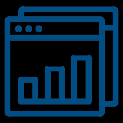 Bar graph inside computer window icon