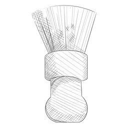 Dibujado a mano cepillo de peluquero