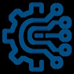 Ícone de traço de conexões do chip do computador