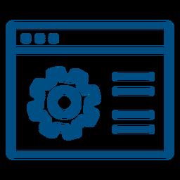 Icono de trazo de configuración de ventana de computadora