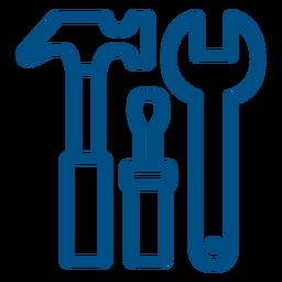Icono de trazo de herramientas de construcción