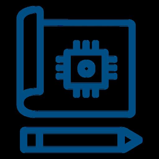 Icono de trazo de chip de computadora dibujado