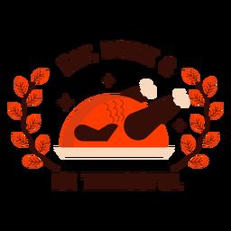 Comer beber ser agradecido insignia de pavo
