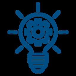 Engrenagens dentro do ícone de traço de lâmpada