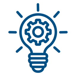 Gears inside lightbulb stroke icon