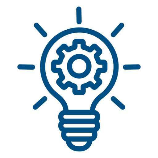 Gears inside lightbulb stroke icon Transparent PNG