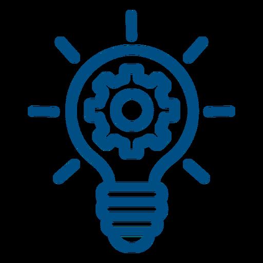 Gears inside lightbulb stroke icon