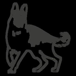 Cão pastor alemão desenhado à mão