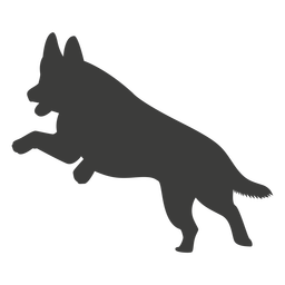 German shepherd jumping silhouette