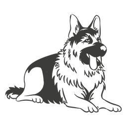 German shepherd laying down hand drawn