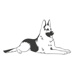 German shepherd laying hand drawn