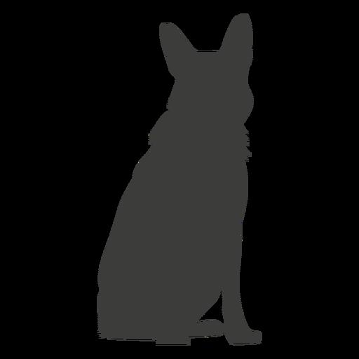 German shepherd sitting down silhouette