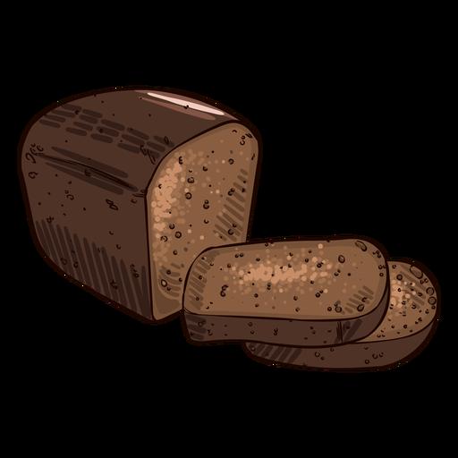 German traditional black bread illustration