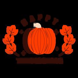 Emblema de abóbora feliz dia de graças