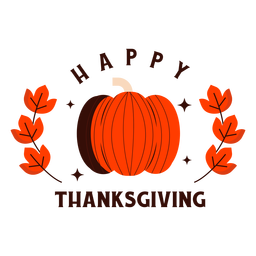 Happy thanksgiving pumpkin badge
