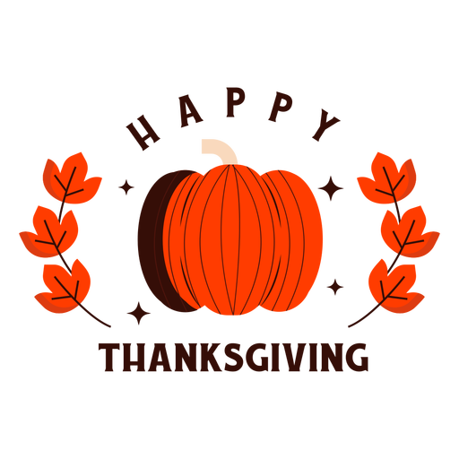 Happy thanksgiving pumpkin badge Transparent PNG