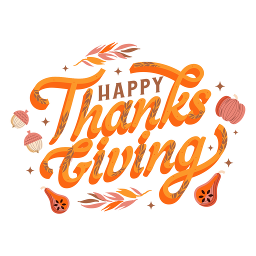 Happy thanksgiving pumpkin lettering Transparent PNG