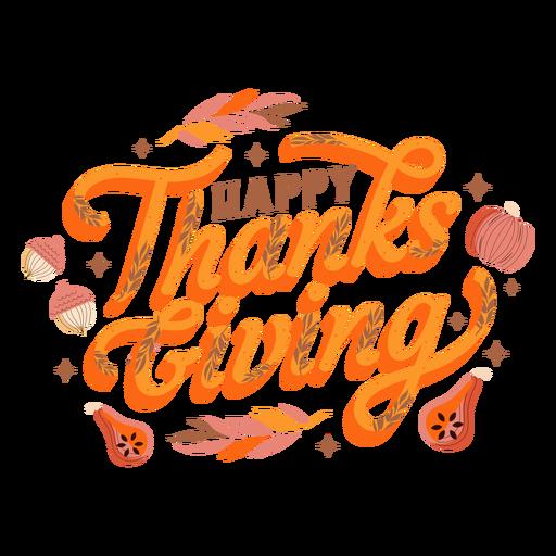 Happy thanksgiving pumpkin lettering