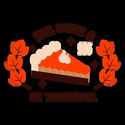 Emblema de torta de abóbora feliz dia de graças