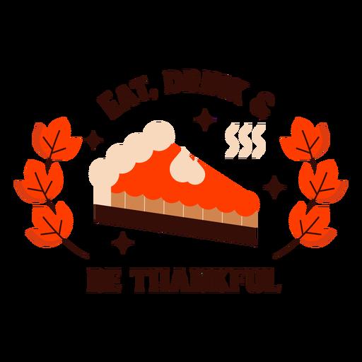 Happy thanksgiving pumpkin pie badge