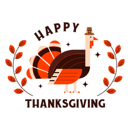 Happy thanksgiving turkey badge