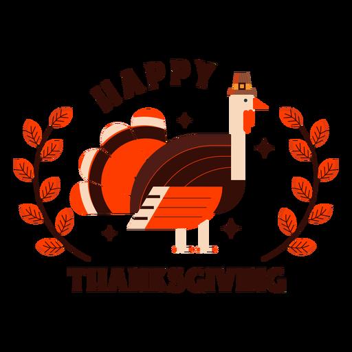 Happy thanksgiving turkey badge Transparent PNG