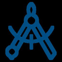 Icono de trazo de brújula de medición
