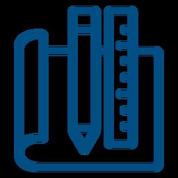 Icono de trazo de lápiz y regla