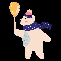 Urso polar com ilustração de balão