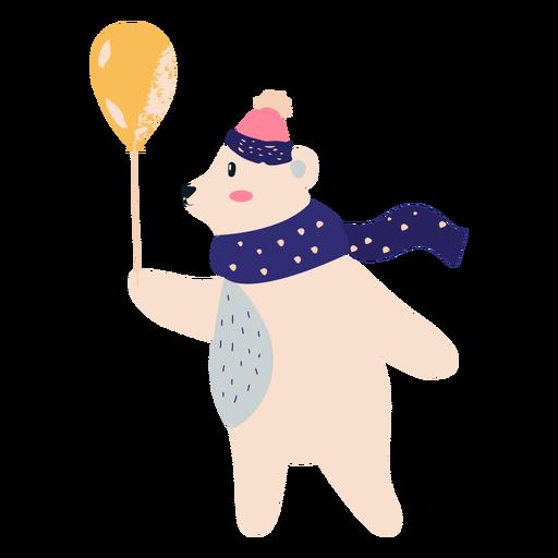 Polar bear with balloon illustration Transparent PNG