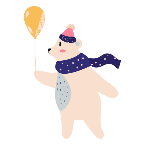Polar bear with balloon illustration