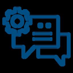 Configuración conversación burbujas icono de trazo