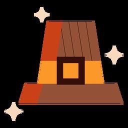 Shiny pilgrim hat flat