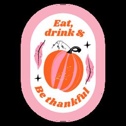 Thanksgiving pumpkin badge