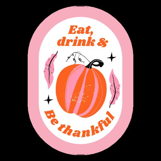 Thanksgiving pumpkin badge Transparent PNG