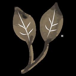 Acuarela de rama de dos hojas