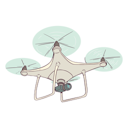 White drone with camera illustration