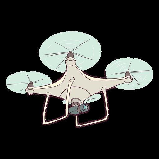 Drone blanco con ilustración de cámara