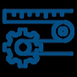 Maquinaria de trabalho com ícone de engrenagem