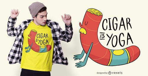 Diseño de camiseta Cigar Yoga