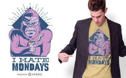 Affe hasst montags T-Shirt Design