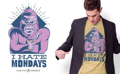 Monkey Hates Mondays T-shirt Design
