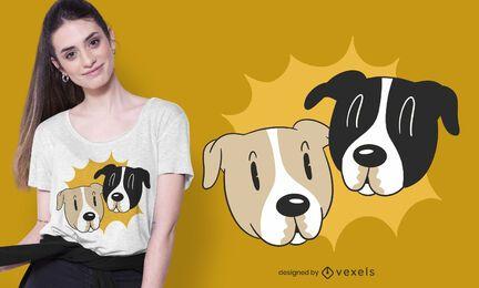 Cartoon Dog Faces T-shirt Design