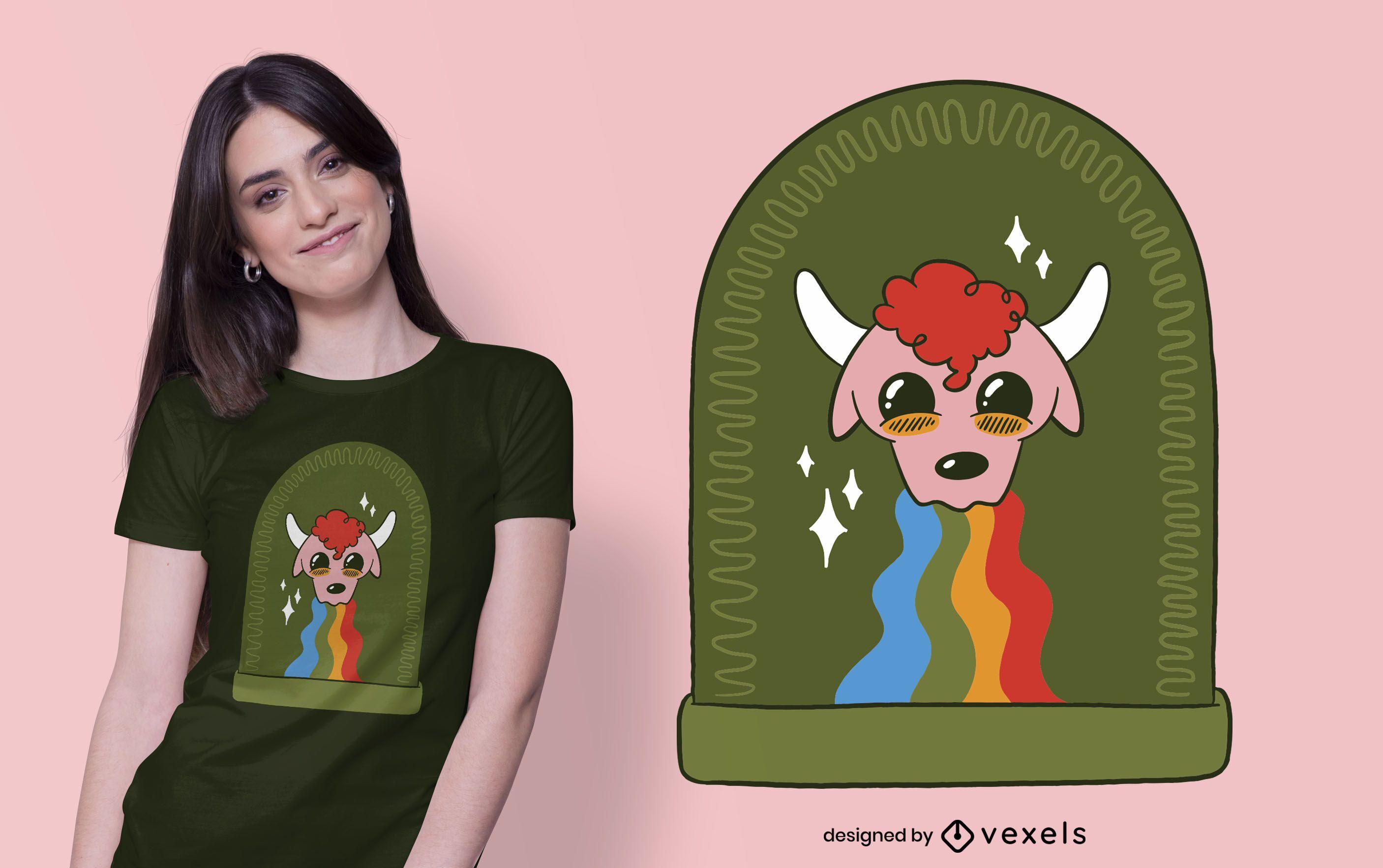 Diseño de camiseta Rainbow Bull